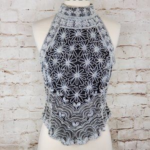 Papell Boutique Silk Beaded Halter Top S EUC